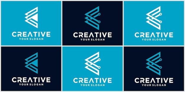Lettera e logo tech, logo futuristico modello in colore blu, logo aziendale e tecnologico, lettera e tech