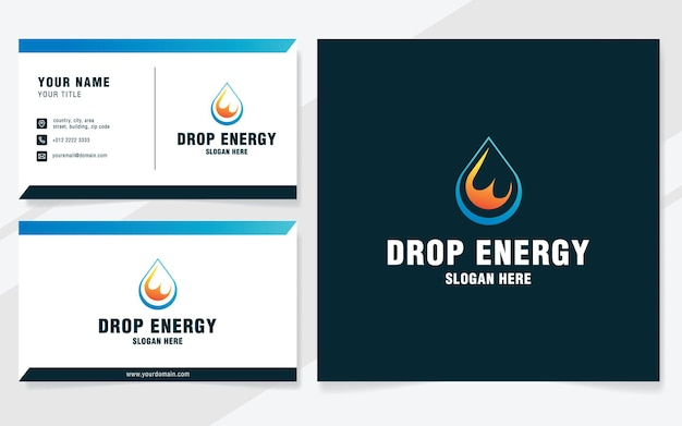 Lettera e con modello di logo di energia a goccia in stile moderno