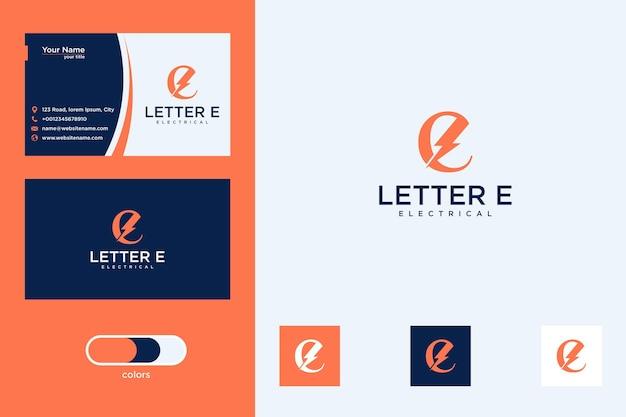Lettera e con design del logo del segno elettrico e biglietto da visita
