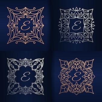 Lettera e con modello di logo cornice floreale
