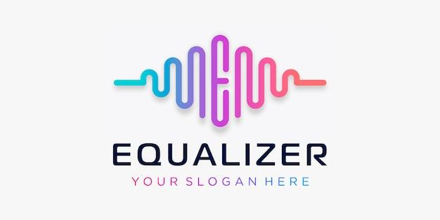 Lettera e con impulso. equalizza l'elemento. logo modello musica elettronica, equalizzatore, negozio, musica per dj, discoteca, discoteca. concetto di logo audio wave, tecnologia multimediale a tema, forma astratta.