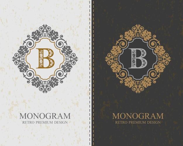 Modello di lettera emblema b, elementi di design del monogramma, modello grazioso calligrafico.