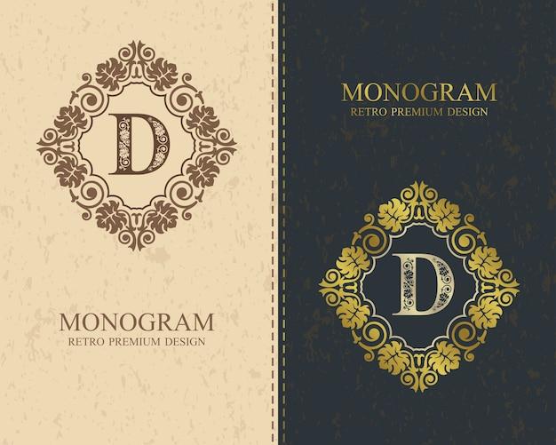 Modello di lettera emblema d, elementi di design del monogramma, modello grazioso calligrafico.