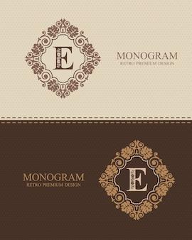 Modello di lettera emblema e, elementi di design del monogramma, modello grazioso calligrafico.