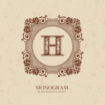 Modello di lettera emblema h, elementi di design del monogramma, modello grazioso calligrafico,