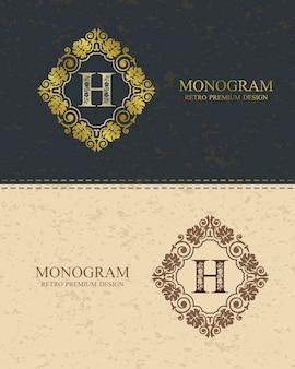 Modello di lettera emblema h, elementi di design del monogramma, modello grazioso calligrafico.