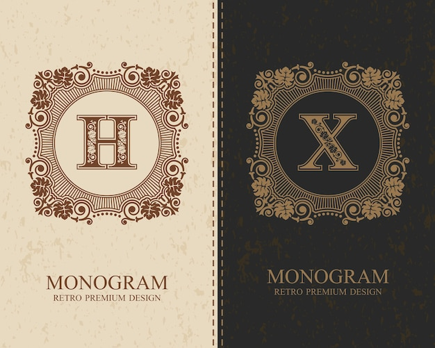 Modello hx dell'emblema della lettera, elementi di design del monogramma, modello grazioso calligrafico.