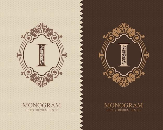 Modello di lettera emblema i, elementi di design del monogramma, modello grazioso calligrafico.