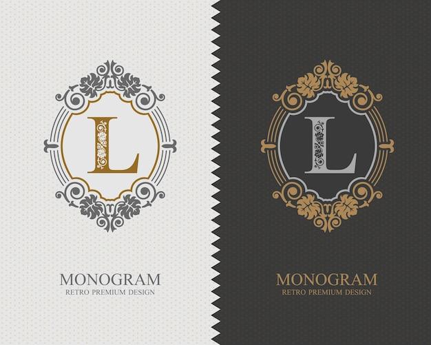 Modello di lettera emblema l, elementi di design del monogramma, modello grazioso calligrafico.