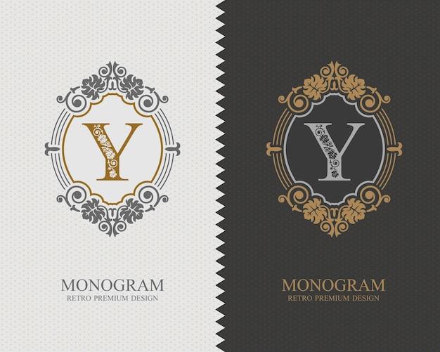 Modello di lettera emblema y, elementi di design del monogramma, modello grazioso calligrafico.