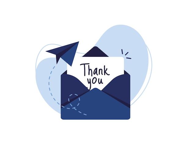 Lettera in busta con testo grazie e un aeroplano di carta. blu