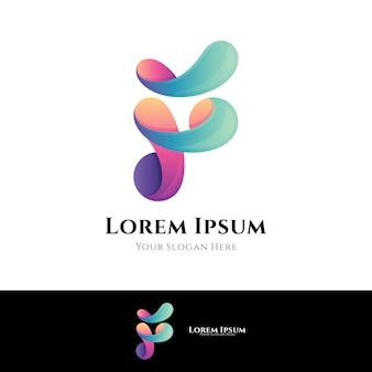Modello di logo aziendale lettera f.