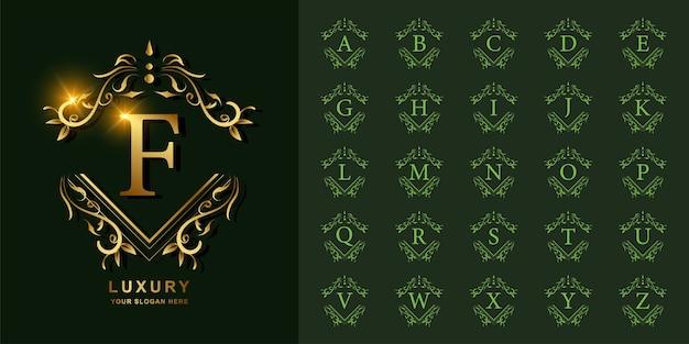 Lettera f o alfabeto iniziale di raccolta con modello di logo dorato cornice floreale ornamento di lusso.