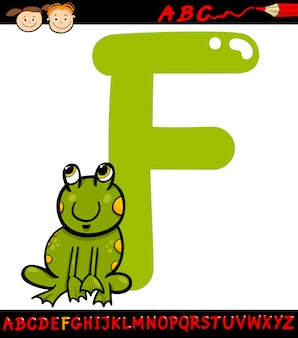 Lettera f per l'illustrazione del fumetto della rana