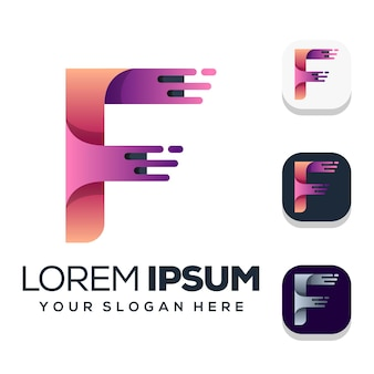 Lettera f logo design isolato su bianco