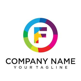 Modello di progettazione del logo della lettera f. segno creativo foderato colorato