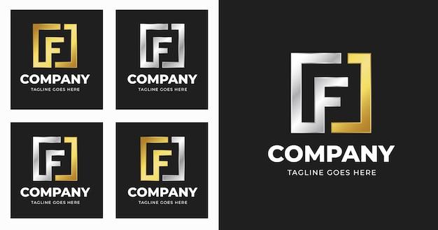Modello di progettazione del logo della lettera f con stile di forma quadrata