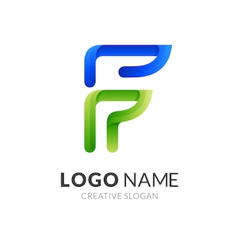 Disegno di marchio della lettera f con stile di colore blu e verde 3d