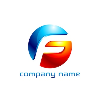 Lettera f logo design con aspetto 3d