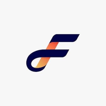 Elementi del modello di disegno di icona di marchio di lettera f