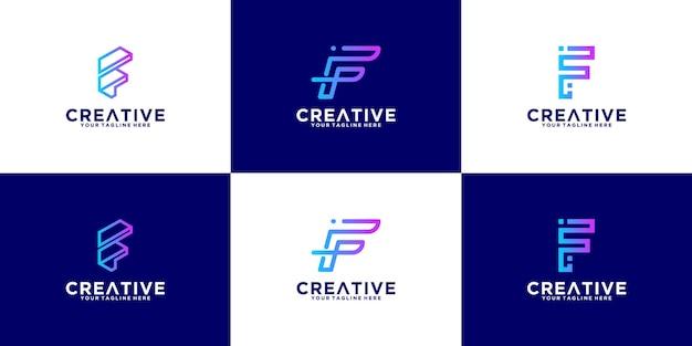 Logo della lettera f impostato con stile art line