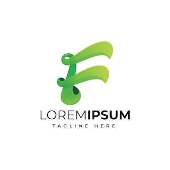 Modello di progettazione di logo moderno di lettera f