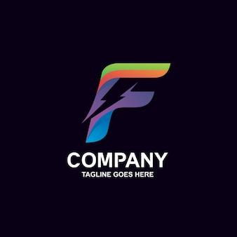 Lettera f e logo del tuono