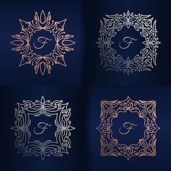 Lettera f con modello di logo cornice floreale
