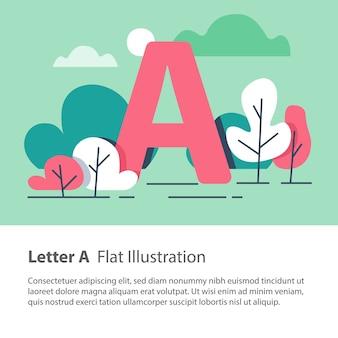 Lettera a in sfondo floreale, alberi del parco, carattere alfabeto decorativo, carattere semplice, concetto di educazione
