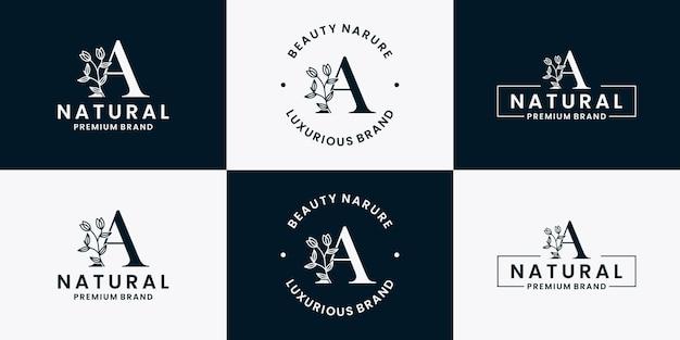 Lettera a fogliame collezione floreale logo design vector