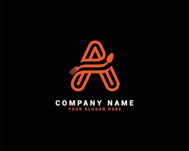 Una lettera logo del cibo, un logo della lettera di un cucchiaio, set di logo della lettera del cibo, alfabeto del cibo