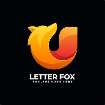 Lettera fox logo design moderno colore