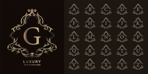 Lettera g o alfabeto iniziale di raccolta con modello di logo dorato cornice floreale ornamento di lusso.
