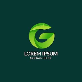 Lettera g logo foglia verde