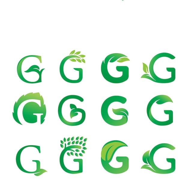 Disegno del logo della foglia della lettera g