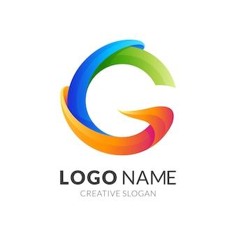 Estratto di logo della lettera g con stile colorato 3d