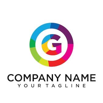 Modello di progettazione del logo della lettera g. segno creativo foderato colorato