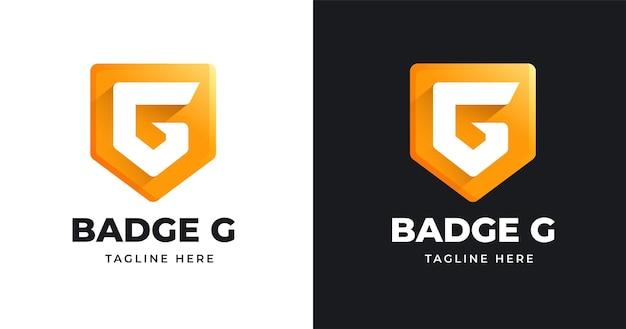 Modello di progettazione del logo della lettera g con stile a forma di badge