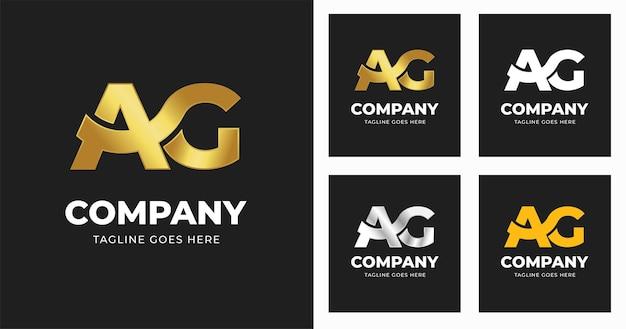 Modello di progettazione del logo della lettera ag