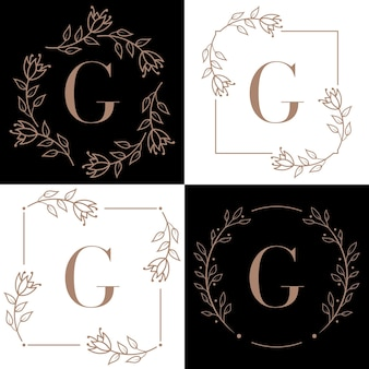 Disegno di marchio della lettera g con elemento foglia di orchidea