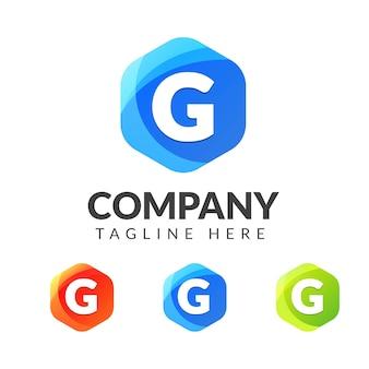 Marchio della lettera g con sfondo colorato, design del logo di combinazione di lettere per industria creativa, web, affari e società.