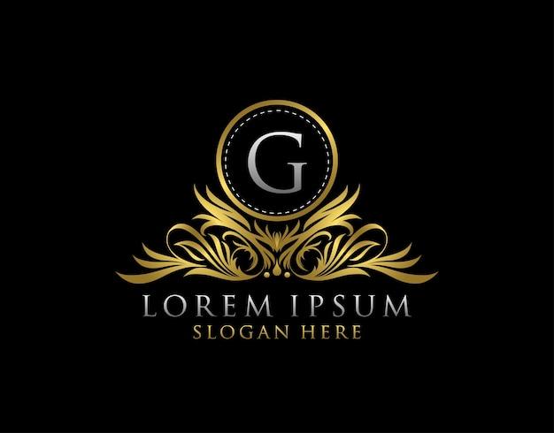 Lettera g logo di lusso. modello struttura monogramma.