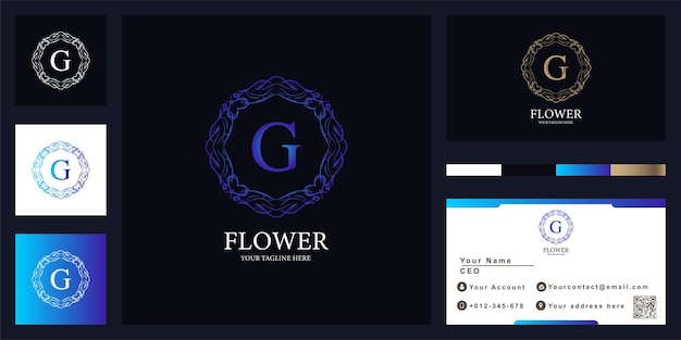 Lettera g lusso ornamento fiore cornice logo modello design con biglietto da visita