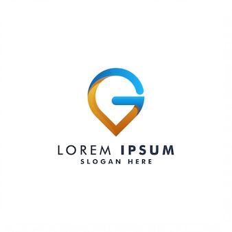 Modello di logo punto lettera g. progettazione del logotipo di posizione