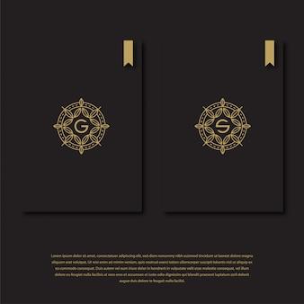 Modello di logo di lettera g e s. natura g e s iniziale con line art, set logo