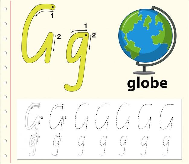 Lettera g che traccia i fogli di lavoro dell'alfabeto