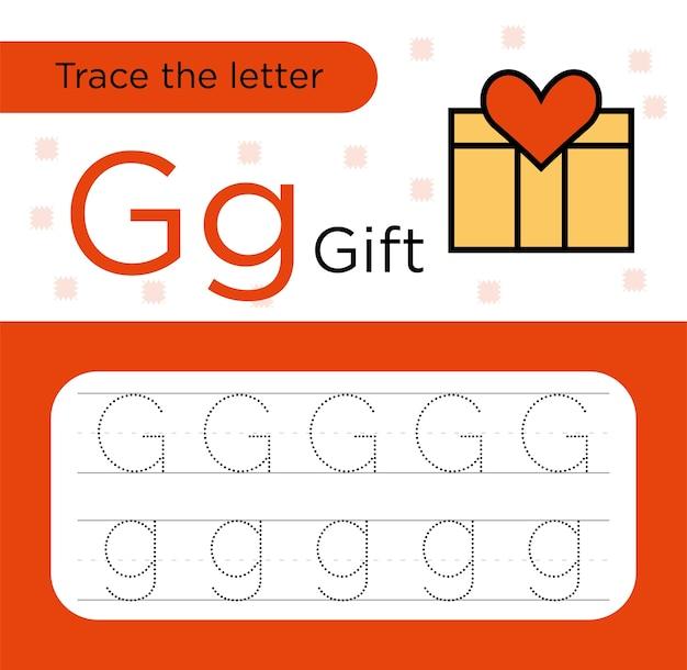 Tracciamento della lettera g per bambini. traccia della lettera. carta pratica prescolare