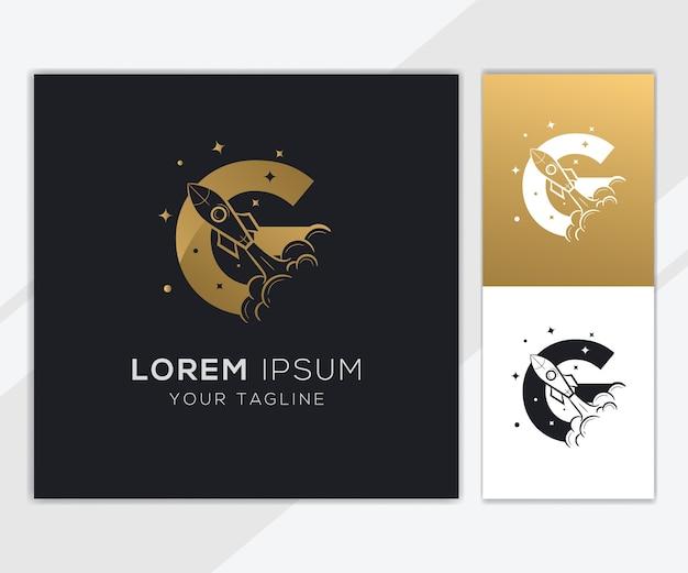 Lettera g con modello di logo di lusso astratto razzo