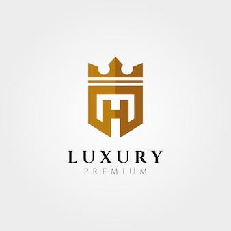 Tipo di logo creativo lettera h con design dell'illustrazione del simbolo di vettore della corona