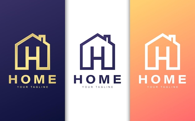 Modello di logo della lettera h nell'edificio. concetto di logo casa semplice